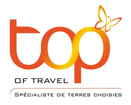 Logo top of travel avec slogan